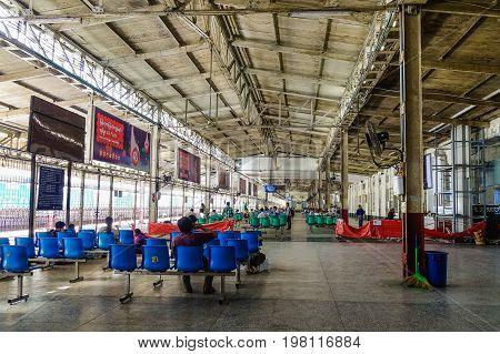Main Railway Station In Yangon, Myanmar
