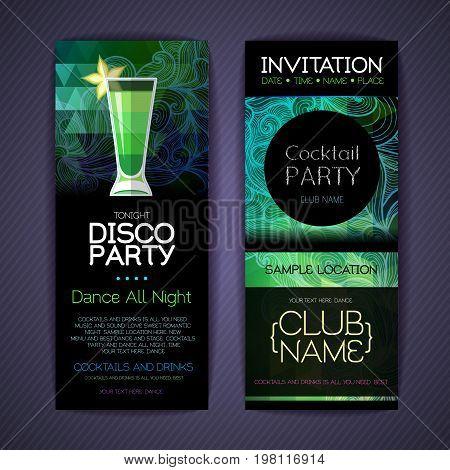 Disco сocktail identity templates. Disco background. Absinthe