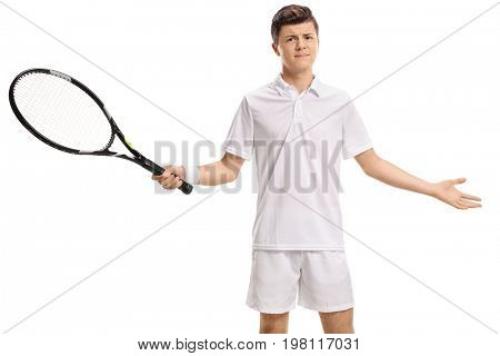 Unsatisfied teenage tennis player isolated on white background