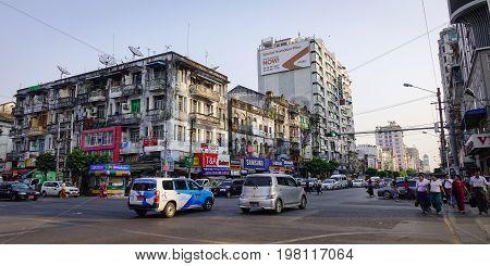 Street At Old Town In Yangon, Myanmar