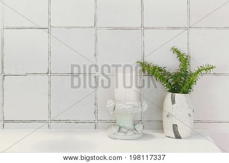 Bathroom Restroom Or Toilet Nature Decoration With Ceramic Glazed Tile, Clean Modern Home.