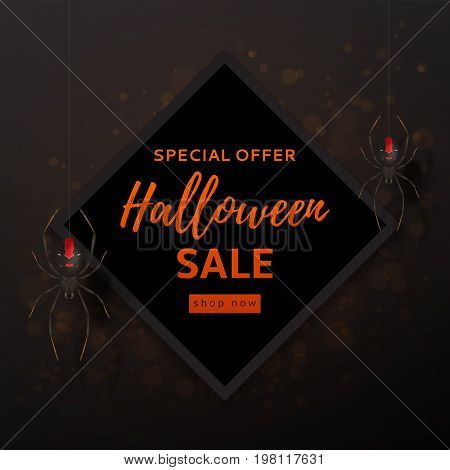 Halloween sale design background. Vector illustration. Festive card with spiders on spider web.