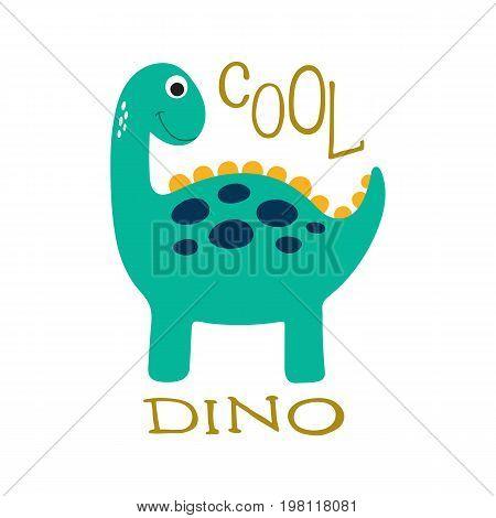 Cute cartoon dino illustration with