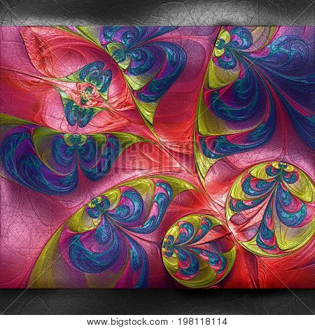 3D rendering of plastic background with embossed circle of flowers fractal on leather