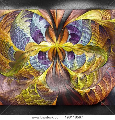 3D rendering of plastic background with embossed pixel butterfly fractal on leather
