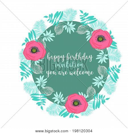 Tropical Hawaii leaves palm tree frame background, texture, wrapper pattern, frame or border. Happy birthday green