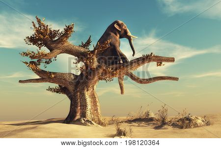 Elephant in a dry tree in surreal landscape. This is a 3d render illustration