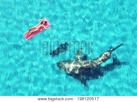Young girl sitting on a beach mattress and a shark underwater. This is a 3d render illustration.