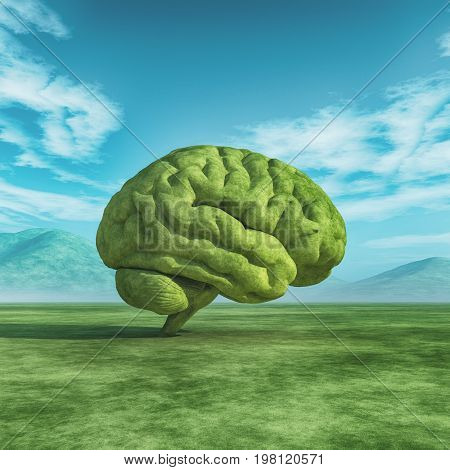 Conceptual image of a large tree in the shape of the human brain on a green field. This is a 3d render illustration.
