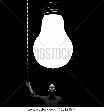 Man with a big bulb above his head. This is a 3d render illustration.