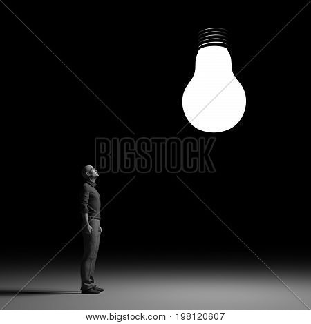 The man looks up towards a bright bulb. This is a 3d render illustration.