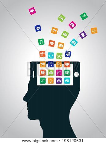 Mobile applications are downloaded and installed in the head in the form of a smartphone, replacing the mind