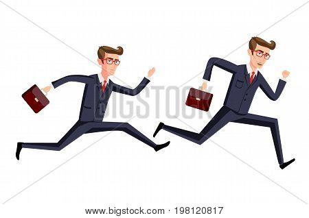 Silhouette Illustration Of A Businessman Running With Briefcase, Business, Energetic, Dynamic Concep