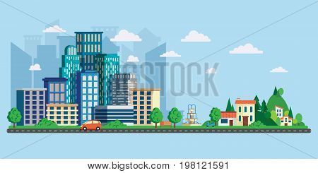 Street and asphalt road with cars. City life. Vector illustration in modern flat style, urban landscape with large skyline and suburb with private houses on a background hills.