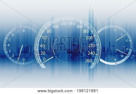 Speedometer with futuristic speed with fast motion blur
