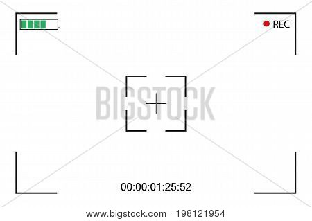 Camera viewfinder. Focusing screen of the camera. Viewfinder camera recording. Vector template for your design. Video on a White Background.