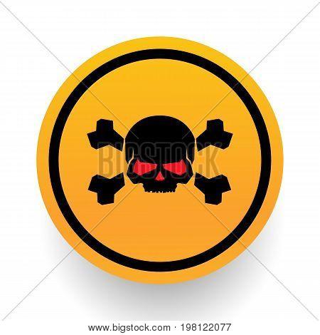 Skull and bones warning sign. Skull and Bones Sign. Danger Alert. skull icon
