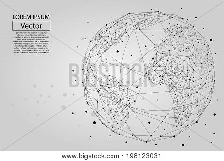 Abstract image of a planet Earth consisting of points, lines, and shapes. Global network connection. World map point and line composition concept of global business. Vector Illustration