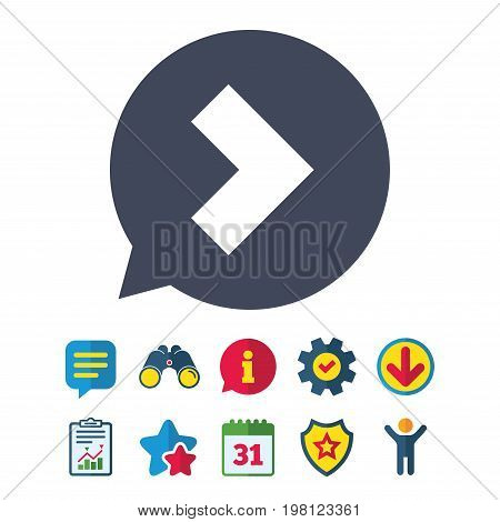 Arrow sign icon. Next button. Navigation symbol. Information, Report and Speech bubble signs. Binoculars, Service and Download, Stars icons. Vector