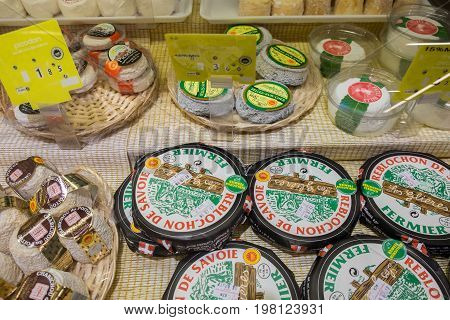 Packed Farmers Cheese For Sale At An Hypermarket In France