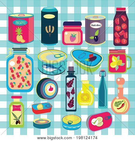 collection of various tins canned goods food metal container grocery store and product storage