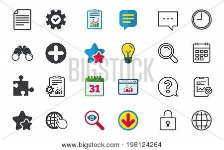 Plus add circle and puzzle piece icons. Document file and globe with hand pointer sign symbols. Chat, Report and Calendar signs. Stars, Statistics and Download icons. Question, Clock and Globe. Vector