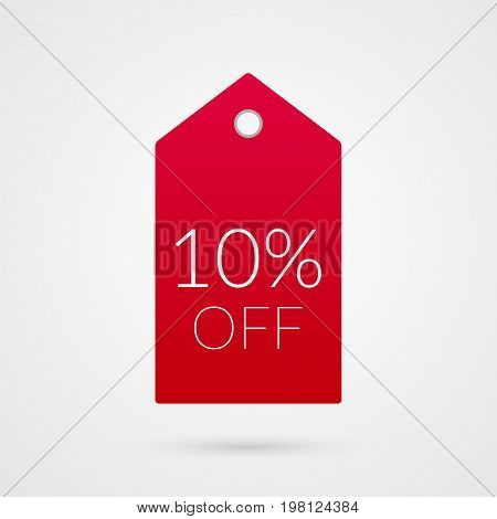 10 percent off shopping tag vector icon. Red and white isolated discount symbol. Illustration sign for sale advertisement marketing project business retail wholesale shop commerce label