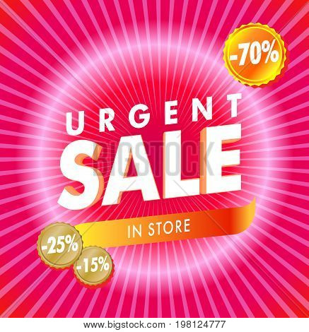 Hot Red Rose Urgent rays Sale template with discount vector illustration