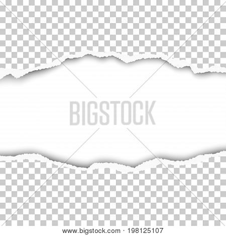Snatched middle of transparent paper with torn edges soft shadow and space for text. Damaged sheet with white background for ad and other aims. Template paper design.
