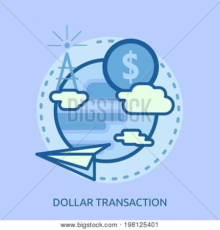 Dollar Transaction Conceptual Design   Great flat illustration concept icon and use for currencies, payment, business and much more.