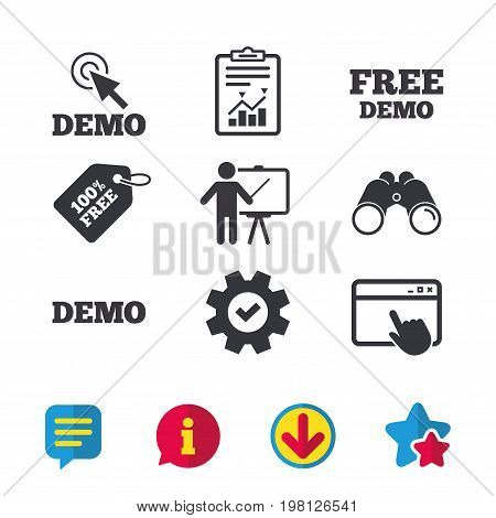 Demo with cursor icon. Presentation billboard sign. Man standing with pointer symbol. Browser window, Report and Service signs. Binoculars, Information and Download icons. Stars and Chat. Vector