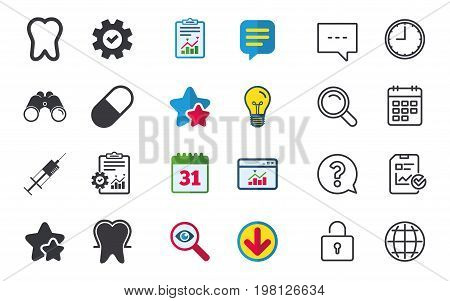 Tooth enamel protection icons. Medical syringe and pill signs. Medicine injection symbol. Chat, Report and Calendar signs. Stars, Statistics and Download icons. Question, Clock and Globe. Vector