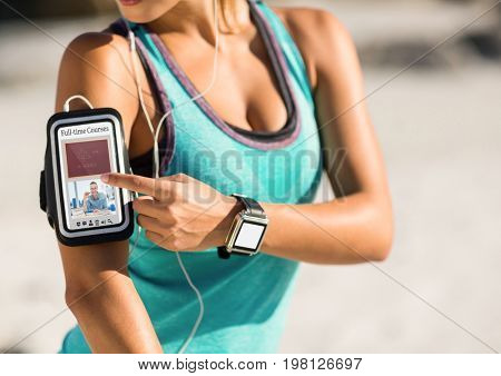Digital composite of Woman exercising using a phone with E-Learning information in the screen