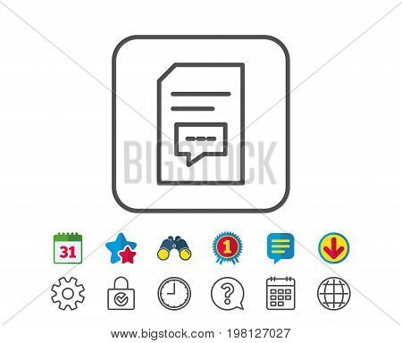Document with Comments line icon. Information File with Speech bubble sign. Paper page concept symbol. Calendar, Globe and Chat line signs. Binoculars, Award and Download icons. Editable stroke