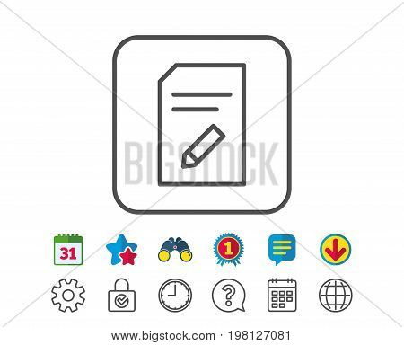 Edit Document line icon. Information File sign. Paper page with pencil concept symbol. Calendar, Globe and Chat line signs. Binoculars, Award and Download icons. Editable stroke. Vector