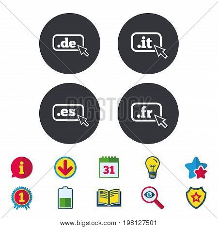 Top-level internet domain icons. De, It, Es and Fr symbols with cursor pointer. Unique national DNS names. Calendar, Information and Download signs. Stars, Award and Book icons. Vector