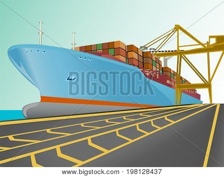 Cargo ship with containers on board. Shipping vessel isolated on white vector illustration. Worldwide shipping design template.