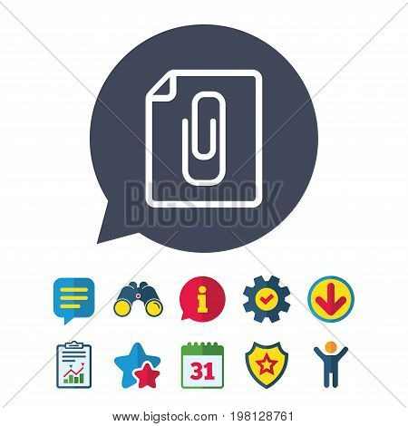File annex icon. Paper clip symbol. Attach symbol. Information, Report and Speech bubble signs. Binoculars, Service and Download, Stars icons. Vector
