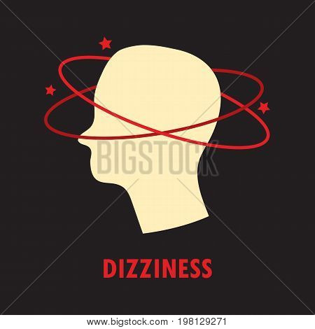 Dizziness. Logo or icon template in colored flat style isolated on black background. Eps10