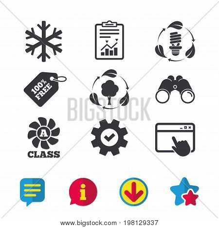 Fresh air icon. Forest tree with leaves sign. Fluorescent energy lamp bulb symbol. A-class ventilation. Air conditioning symbol. Browser window, Report and Service signs. Vector