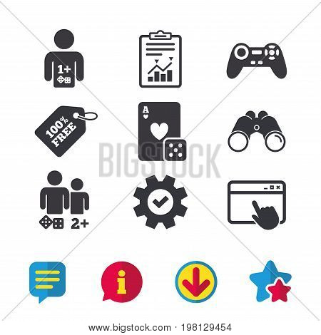 Gamer icons. Board games players signs. Video game joystick symbol. Casino playing card. Browser window, Report and Service signs. Binoculars, Information and Download icons. Stars and Chat. Vector