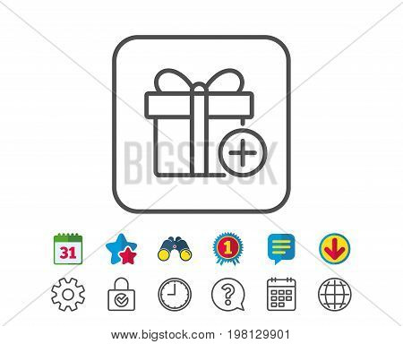 Add Gift box line icon. Present or Sale sign. Birthday Shopping symbol. Package in Gift Wrap. Calendar, Globe and Chat line signs. Binoculars, Award and Download icons. Editable stroke. Vector