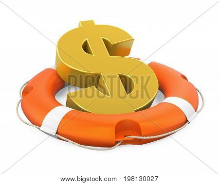 Dollar Sign in Lifebuoy isolated on white background. 3D render
