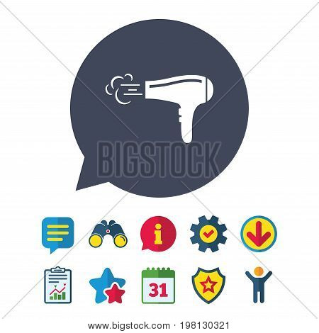 Hairdryer sign icon. Hair drying symbol. Blowing hot air. Turn on. Information, Report and Speech bubble signs. Binoculars, Service and Download, Stars icons. Vector