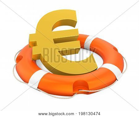 Euro Sign in Lifebuoy isolated on white background. 3D render
