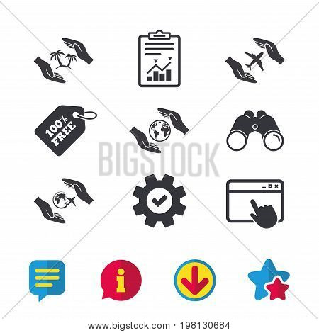 Hands insurance icons. Palm trees symbol. Travel trip flight insurance symbol. World globe sign. Browser window, Report and Service signs. Binoculars, Information and Download icons. Stars and Chat