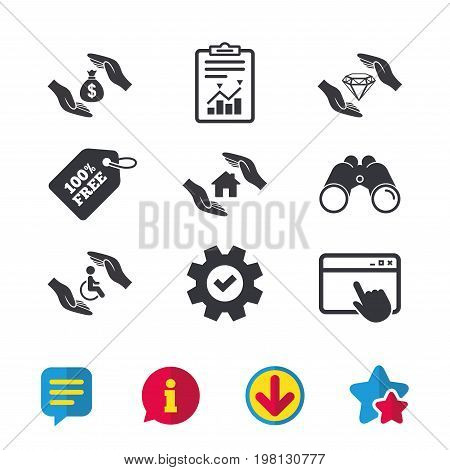 Hands insurance icons. Money bag savings insurance symbols. Disabled human help symbol. House property insurance sign. Browser window, Report and Service signs. Vector
