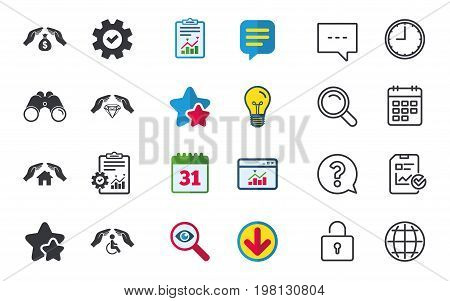 Hands insurance icons. Money bag savings insurance symbols. Disabled human help symbol. House property insurance sign. Chat, Report and Calendar signs. Stars, Statistics and Download icons. Vector