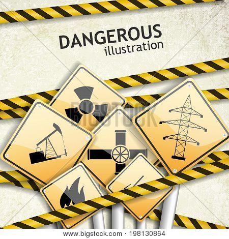 Industrial textured background with square warning signs and tapes flat vector illustration