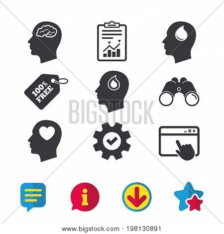 Head with brain icon. Male human think symbols. Blood drop donation sign. Love heart. Browser window, Report and Service signs. Binoculars, Information and Download icons. Stars and Chat. Vector